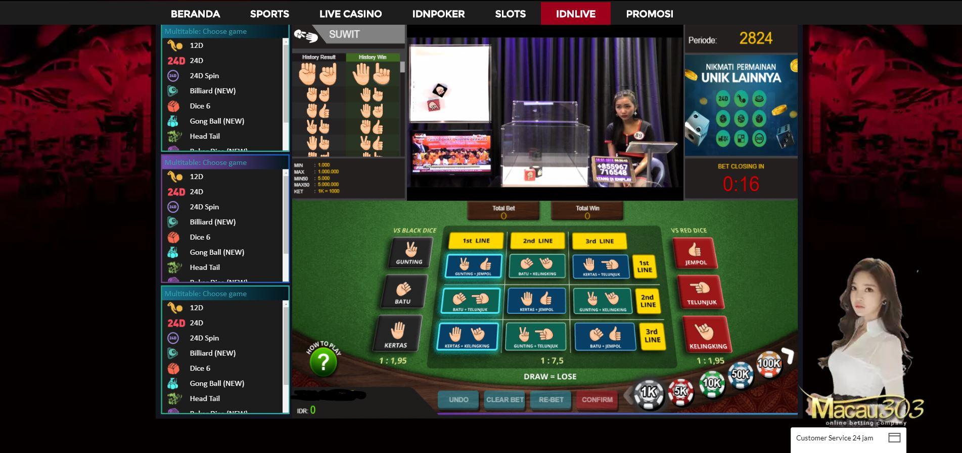Tampilan Permainan Judi Dadu Suwit di Macau303